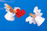Two toy angel and heart — Stock Photo