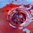Sink stained with blood — Stock Photo