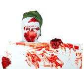 Scary bloody zombie blind in cap — Stok fotoğraf