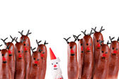 Funny reindeer and Santa — Stock Photo