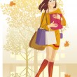 Royalty-Free Stock Vector Image: Autumn girl