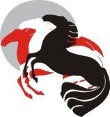 Three horses — Stock Vector