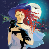 Nigthly witch — Stock Vector