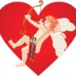 Red heart and cupid — Stock Vector