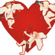 Red heart and cupids — Stock Photo