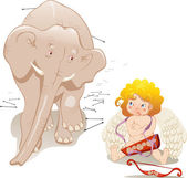 Cupid and elephant — Stock Vector