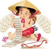 Cupid chines, Valentine day character — Stock Vector