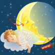 Cupid and moon — Stock Vector