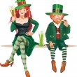 Elf girl and leprechaun — Stock Vector #41753643