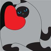 Siamese, blue eyes gray cat, — Stock Vector