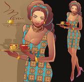 Camarera de café — Vector de stock