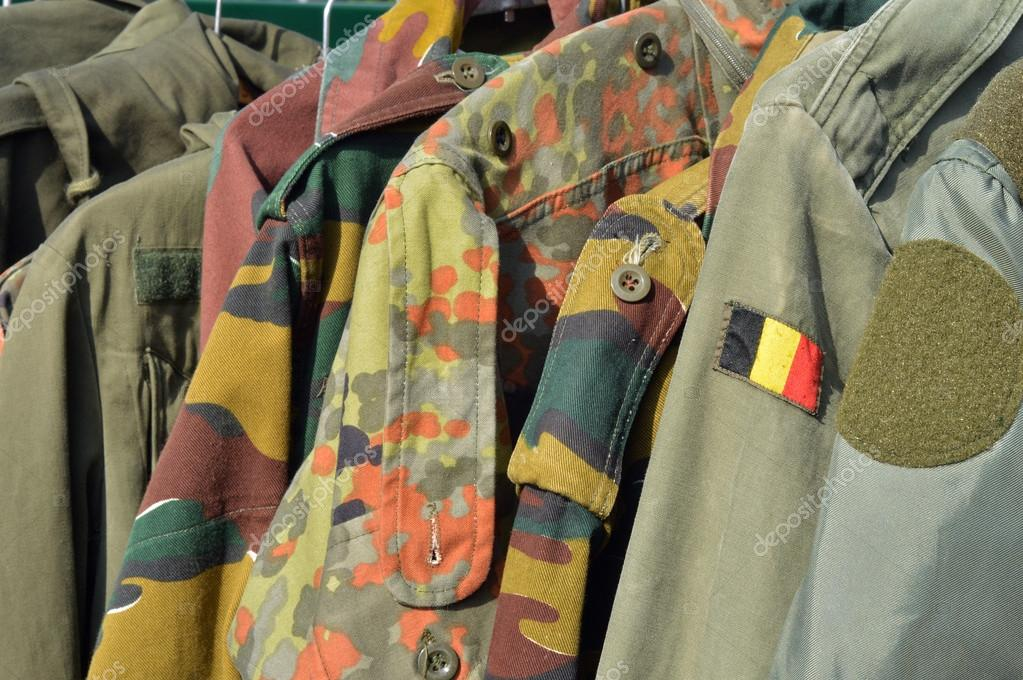 Dump Military wear on a flea market in Spa, Belgium  Stock Photo #13303052