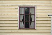 用窗帘的窗口 — 图库照片