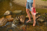 Wading in Creek — Stock Photo