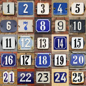 House numbers 1 to 25 — Stock Photo