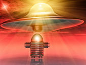 Flying saucer and robot — Stock Photo
