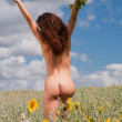 Naked girl on the field. — Stock Photo #16168539