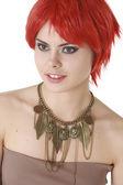 Garota ruiva engraçado isolada — Fotografia Stock