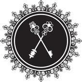 Emblem with keys — Stock Vector