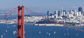 San francisco panorama w den golden gate-bron — Stockfoto
