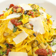Stock Photo: Fettuccine with dried tomatoes and parmesan
