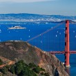 The Golden Gate Bridge, Oakland City and Alcatraz — Stock Photo