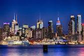 The New York City Uptown skyline in the night — Stock Photo