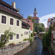 Stock Photo: Narrow canal at Cesky Krumlov