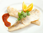 Grilled Pike perch with lemon — Stock Photo
