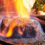 Steak flambe — Stock Photo