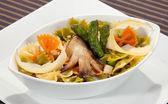 Italian pasta w asparagus, mushroom and parmesan — Stock Photo