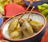 Mexican speciality marinated capers — Stock Photo