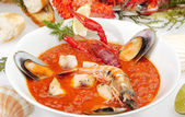 Fish soup Minestrone — Stock Photo