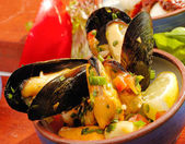 Spicy mussels — Stock Photo