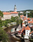 Cesky krumlov, Tsjechië, augustus 21, 2012: de kasteeltoren — Stockfoto