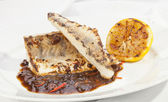 Grilled Pike perch with lemon — Stok fotoğraf