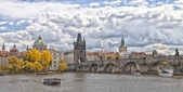 Prague Charles bridge in fall — Stock Photo