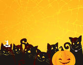 Halloween background with black cats and pumpkin. — Stock Vector