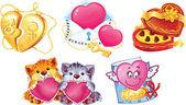 Conjunto de símbolos románticos para valentin — Vector de stock