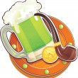 The Green Beer for St.Patrick's Day. — Stock Vector