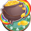 Stock Vector: Pot of gold on Saint Patrick's Day.