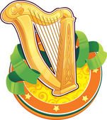 St.Patrick's Day symbol. The Irish Harp — Vettoriale Stock