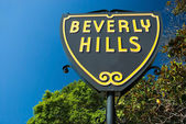 Sinal de beverly hills em los angeles close-up vista — Fotografia Stock