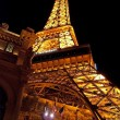 Stock Photo: Eiffel Tower restaurant on the Las Vegas Strip at night