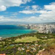 Aerial view of Honolulu and Waikiki beach from Diamond Heat — Stock Photo #29386287