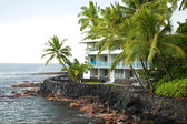 Luxury hotel on untouched volcano beach with palms trees and oce — Stock Photo