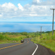 Empty road in Hawaiian countryside with car and ocean in backgro — Stock Photo