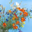 Wild flowers on a blue background — ストック写真