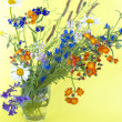 Wild flowers on a yellow background — Stock Photo #13689685