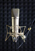 Condenser microphone in recording studio — Stock Photo